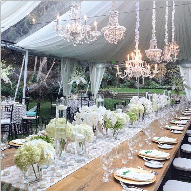 Meadowood wedding with harvest table and chevron linen photo Stuart Rental Company US