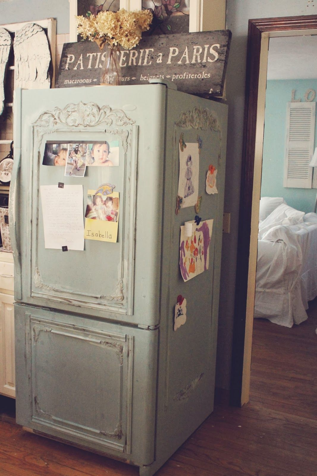 By trios petites filles old fridge turned shabby french - Pinterest shabby chic kitchens ...
