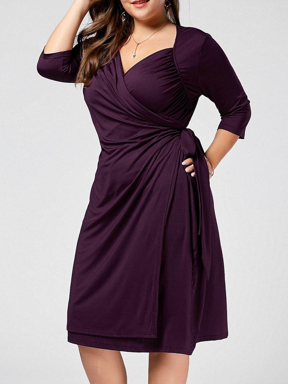 $17.74--Plus Size A Line Wrap Dress, PURPLE, 4X/18 in Plus Size ...