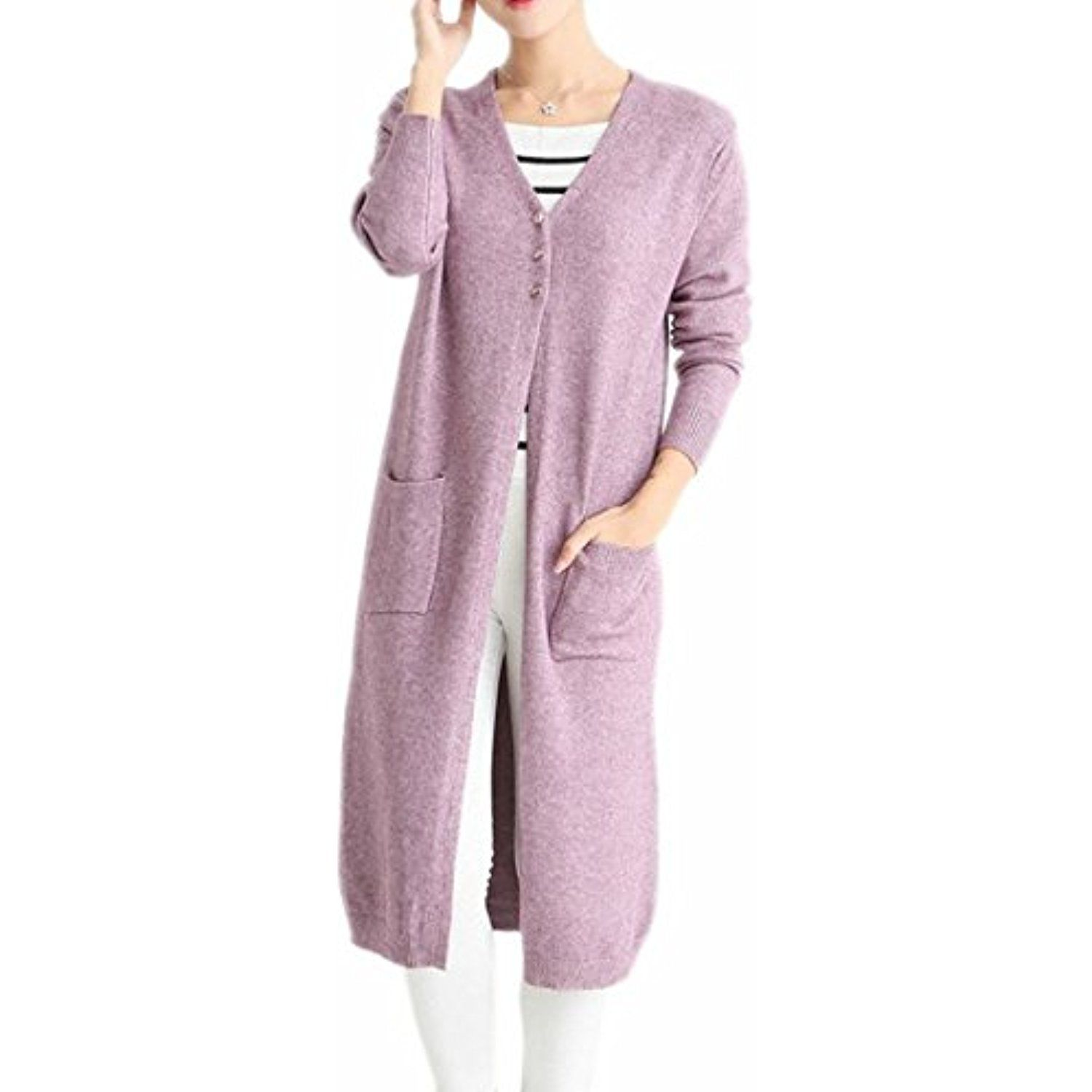Women Vogue V Neck Slim Button Down Maxi Cardigan ** Click image ...