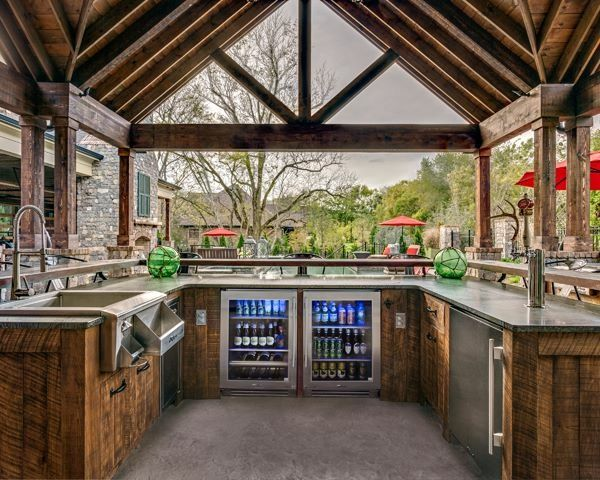 Well Appointed Kitchen Setup With A Nice Airy Feel Outdoor Kitchen Design Backyard Pavilion Outdoor Kitchen Decor