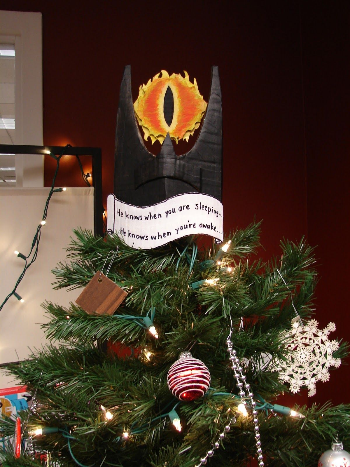 Funny Christmas Tree Toppers.Jun Makes Stuff December 2012 Eye Of Sauron Tree Topper