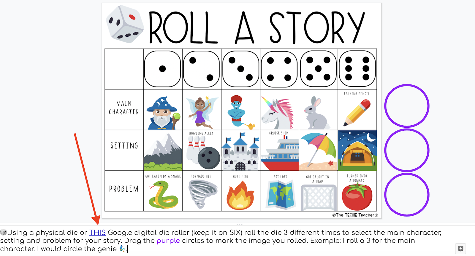 Roll A Story Digital Writing Activity