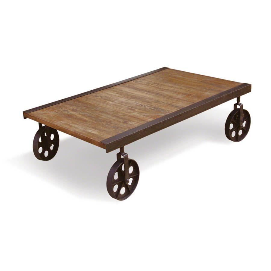 Industrial Rustic Cart Coffee Table On Wheels