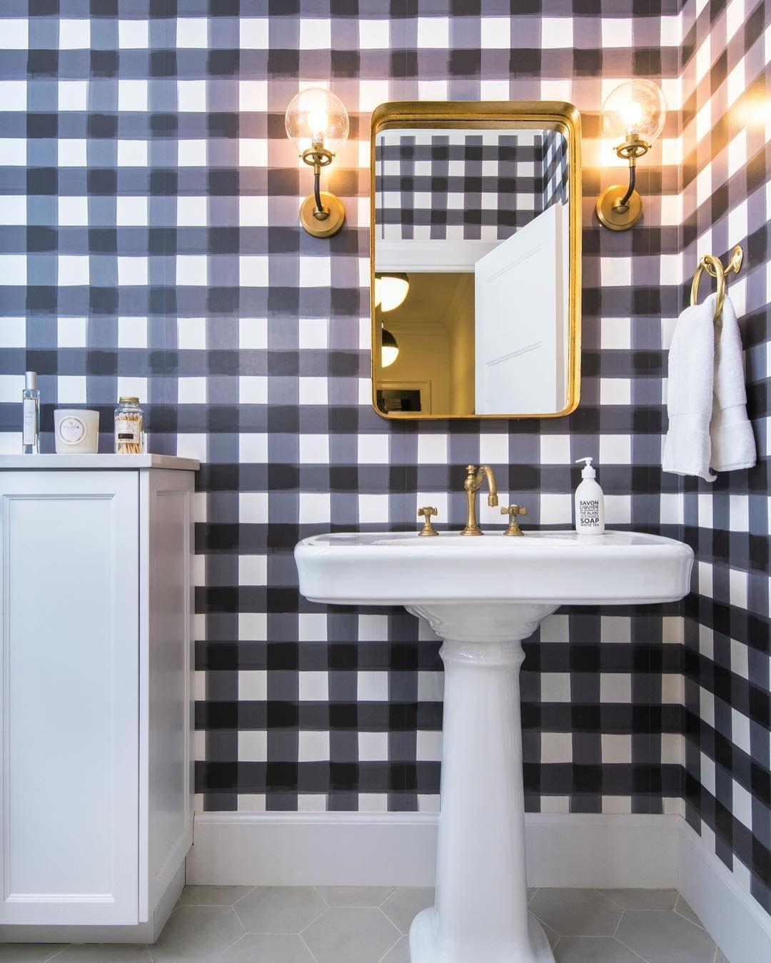 Burnside Buffalo Check in Navy Wallpaper Bathroom trends