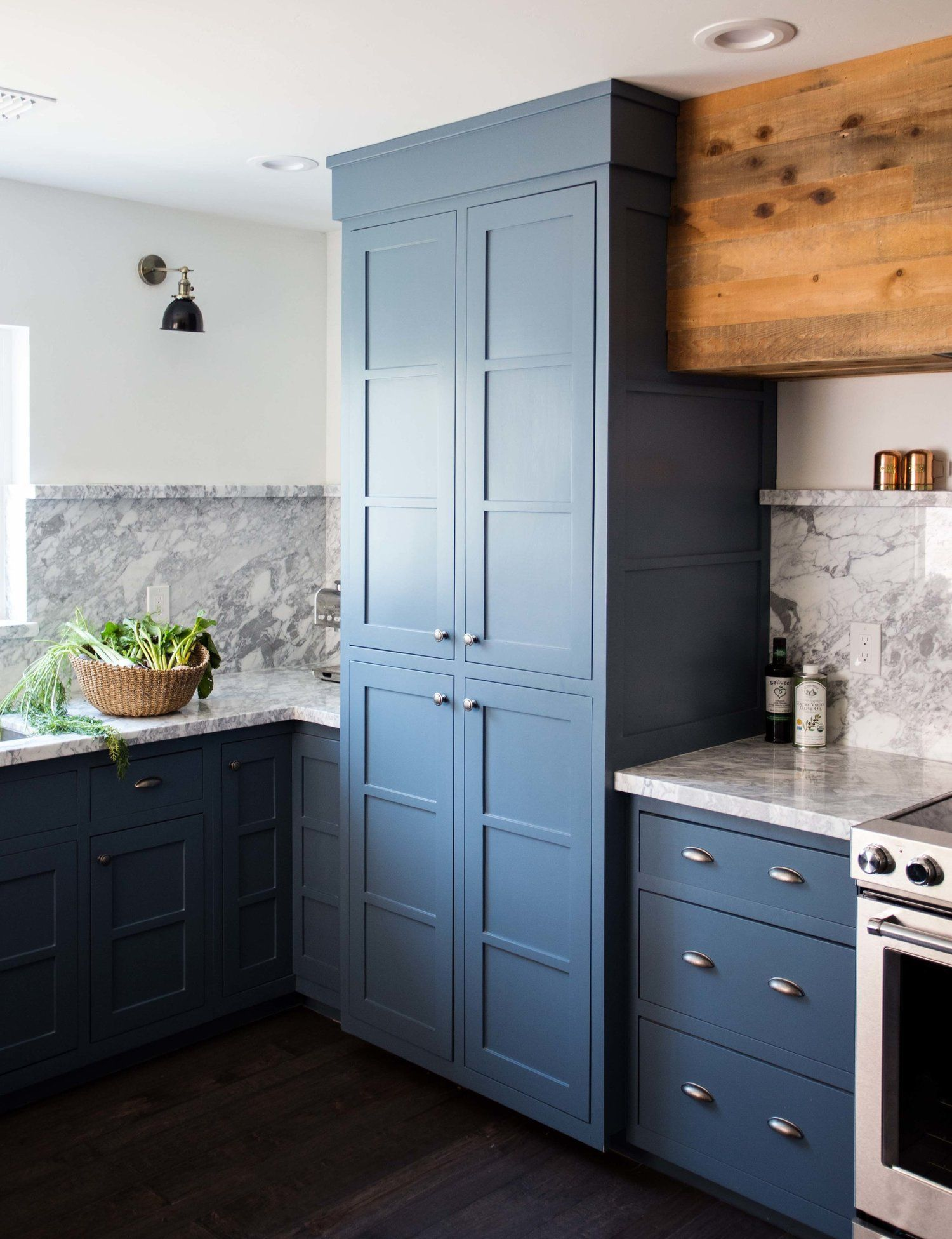 Clarendon Kitchen Pantry shaker style cabinet blue marble curb ...