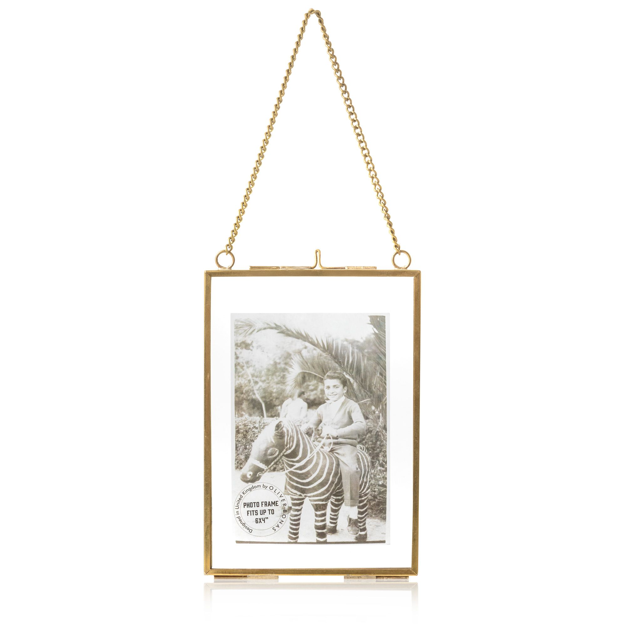 Gold & Glass Hanging Wall Frame 6x4\
