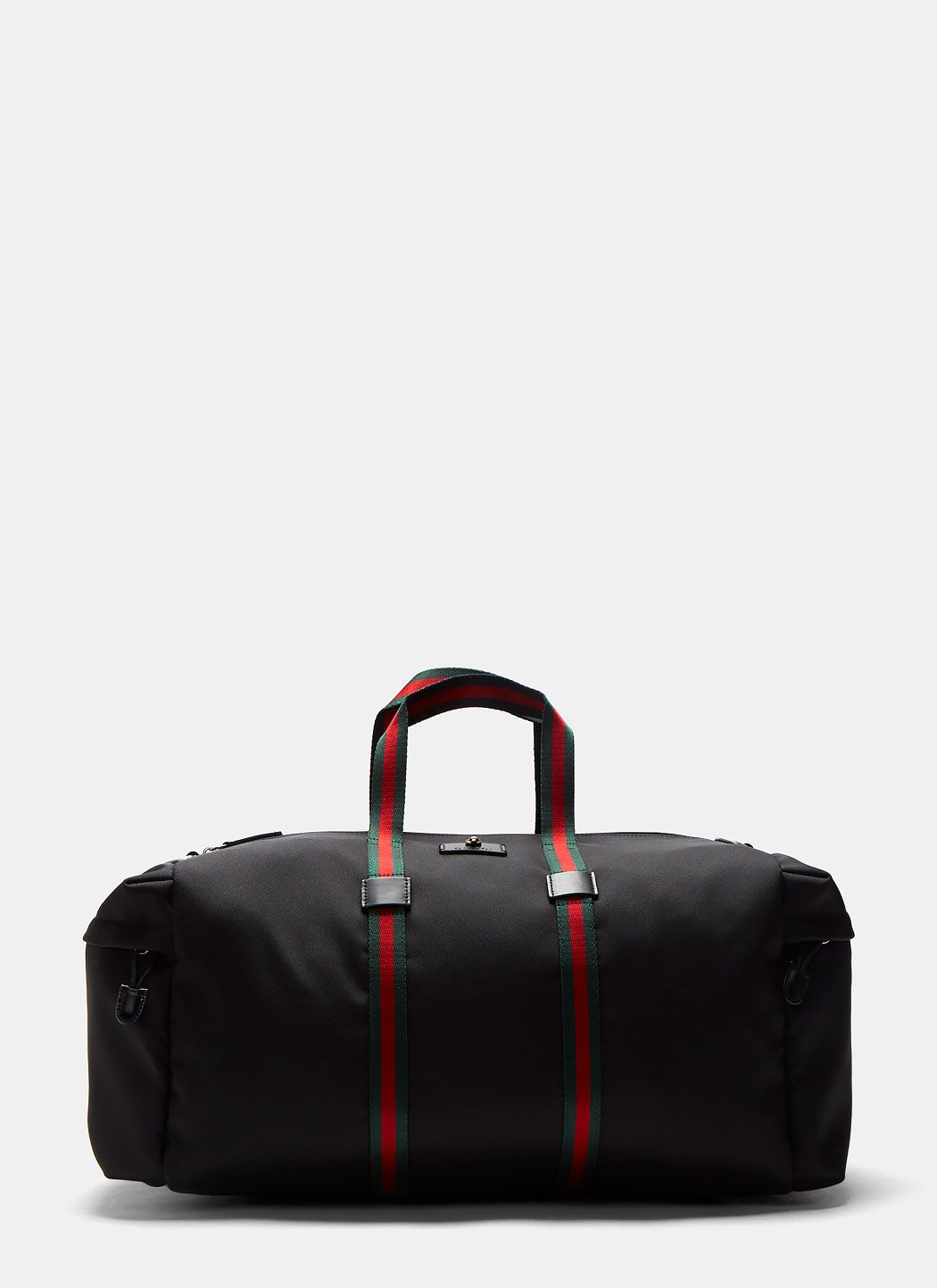 gucci bags for guys. gucci men\u0027s techpack canvas striped webbing duffle bag in black. #gucci # bags gucci for guys n