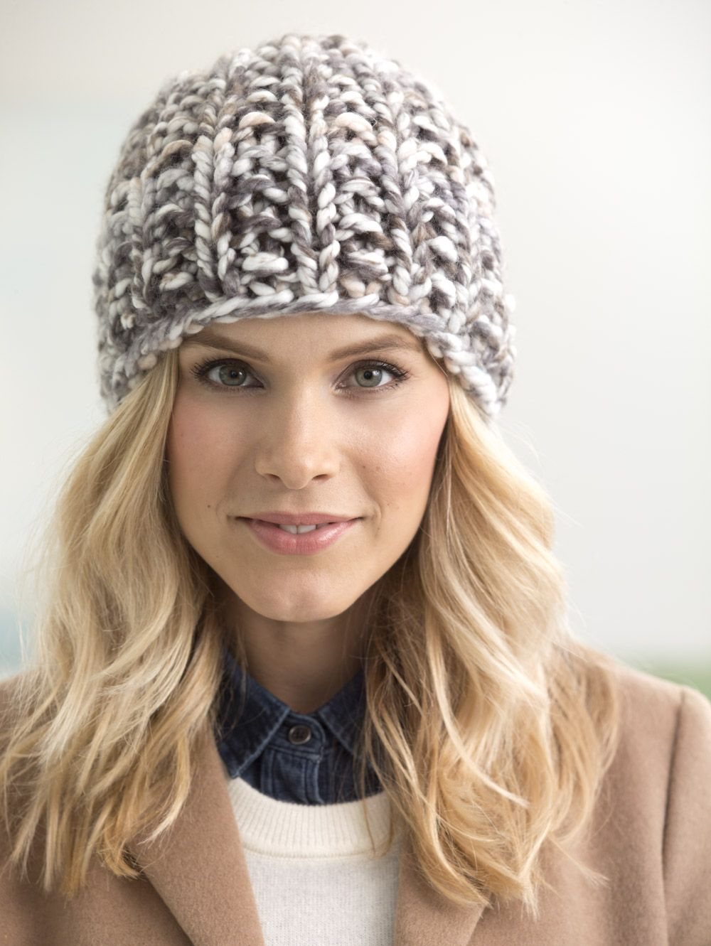 Knit a super trendy chunky hat with new Color Clouds! Free knit pattern  calls for just one ball of yarn (pictured in thunder) and size 19 (15mm)  knitting ... 92e0df3124e