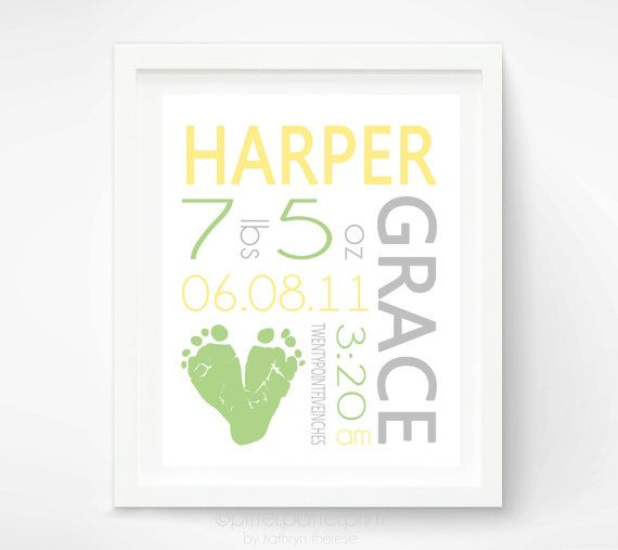 Baby Name Art Print - Baby Footprint Art - Personalized Birth Announcement Wall Art - Baby Announcement via Etsy