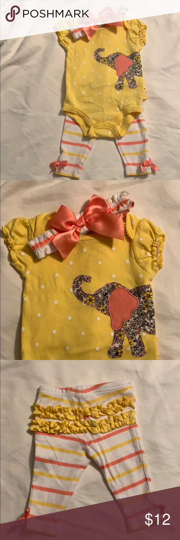 Elephant matching 2 piece set w/ headband 6 month Yellow and pink matching set from first impressions. Great condition. One of my faves. Bundle to save Matching Sets #wfaves Elephant matching 2 piece set w/ headband 6 month Yellow and pink matching set from first impressions. Great condition. One of my faves. Bundle to save Matching Sets #wfaves