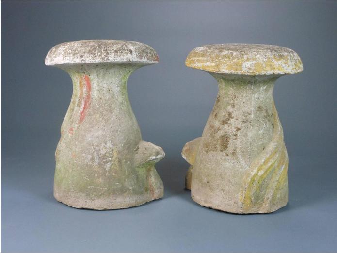 Pair Of French Cast Stone Mushroom Stools Ca 1900 Glen Dooley Antiques