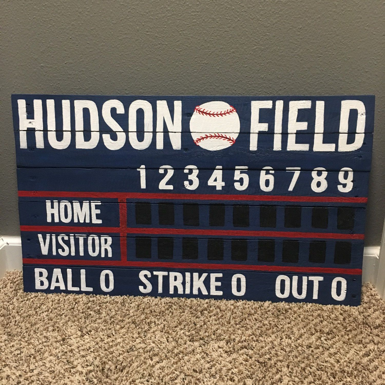 custom name baseball/softball scoreboard wooden painted sign | man