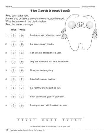 Pin On Dental Health Unit Free dental health worksheets for