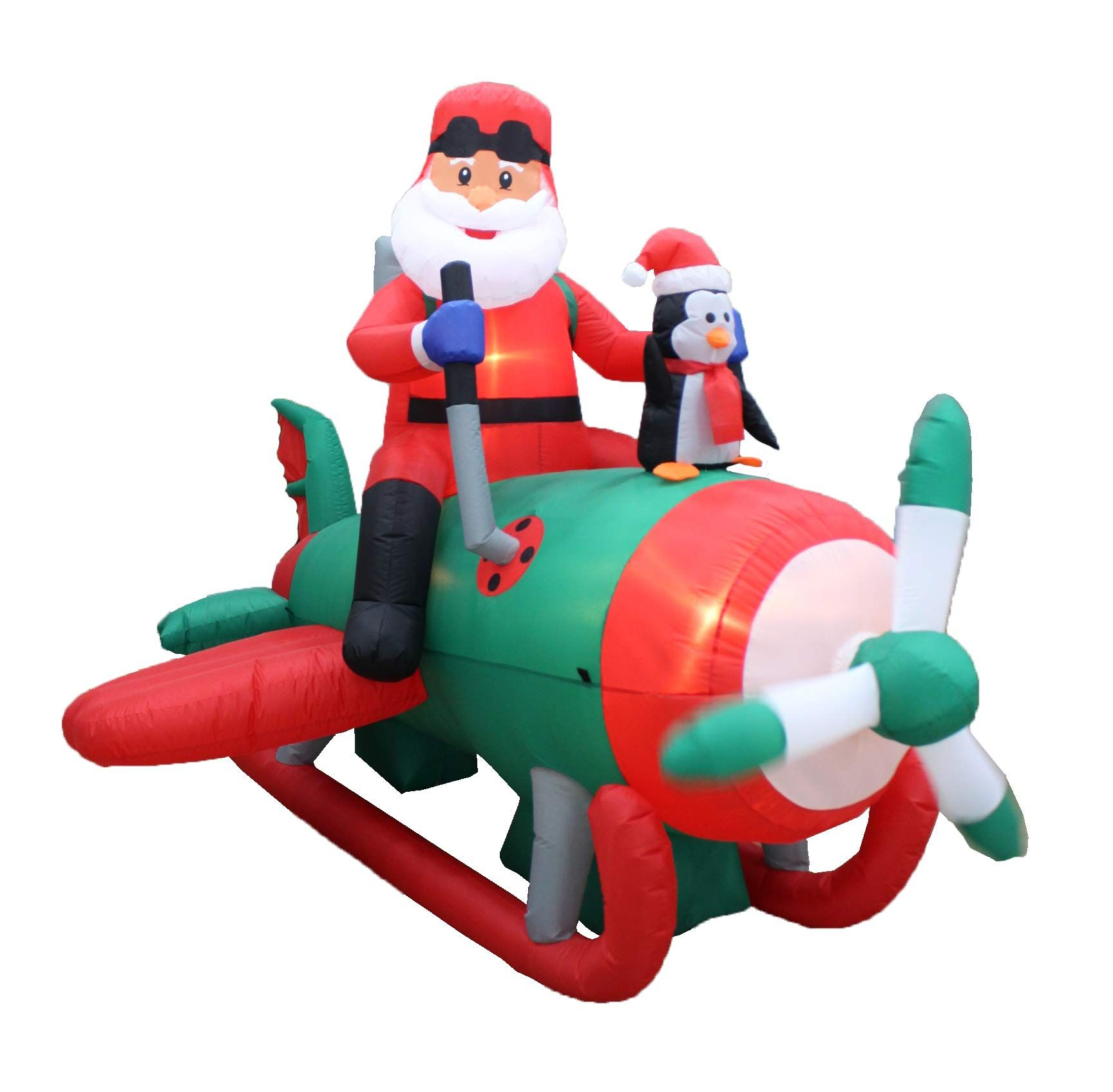 Inflatable airplane christmas decorations for outdoors