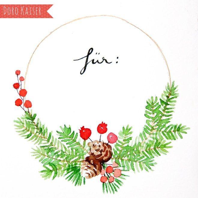 Malen mit Aquarell: Weihnachtlicher Kranz – Doro Kaiser | Grafik & Illustration