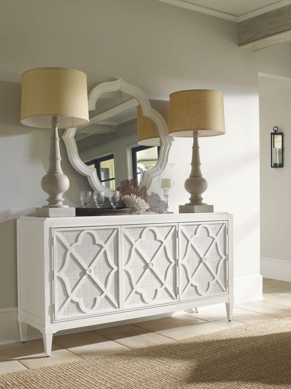 Beautiful white raffia buffet perfect for a beach condo or vacation ...