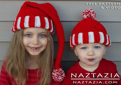Free Pattern - Crochet Santa Hat Striped Beanie for Kids Children ...