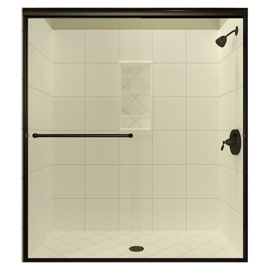 Arizona Shower Door Lite Euro Recessed 56 In To 60 In W Semi Frameless Bypass Sliding Anodized Oil Rubbed Bronze Shower In 2020 Shower Doors Bathtub Doors Frameless Sliding Shower Doors