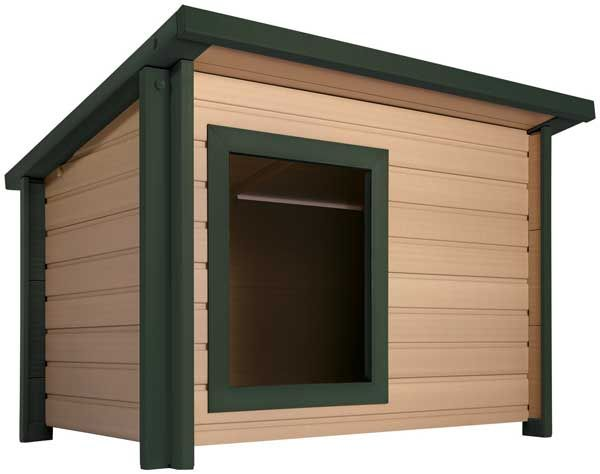 These attractive ecoConcepts doghouses are resistant to pests, rot, weather and moisture and feature non-fading color which can either be left as is or painted with any color exterior quality latex paint. Available in two sizes.
