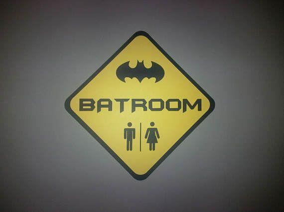 BATROOM Bathroom Sign, Batman Theme Road Sign Birthday Party Wall ...
