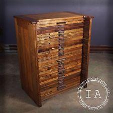 Vintage Industrial 25 Drawer Hamilton Flat File Printers Cabinet ...