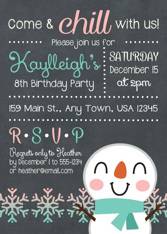 Afdrukbare snowman birthday party uitnodiging door inglishdigidesign printable snowman birthday party invitation winter birthday party invite snowman snowflakes winter party in aquateal and light coral filmwisefo Image collections