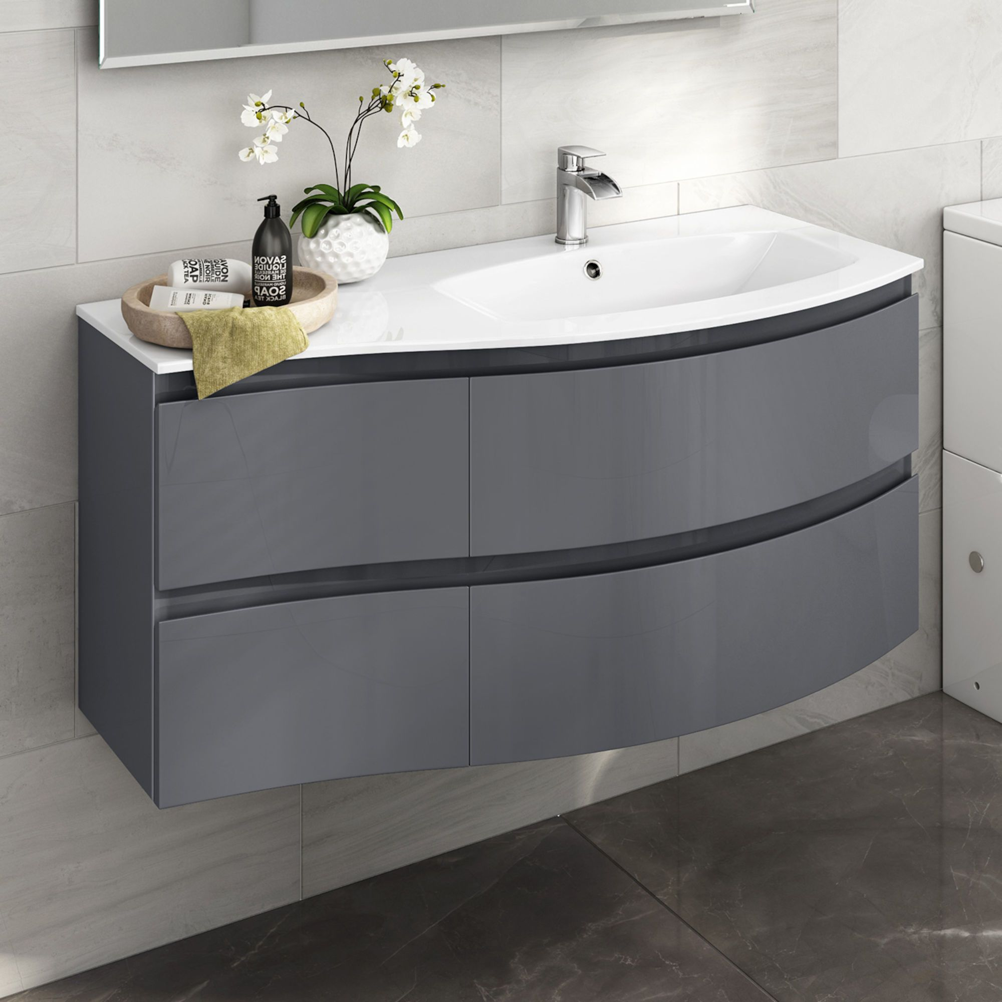 1040mm Amelie Gloss Grey Curved Vanity Unit Right Hand Wall Hung Bathroom Units Basin Sink Bathroom Bathroom Furniture Modern