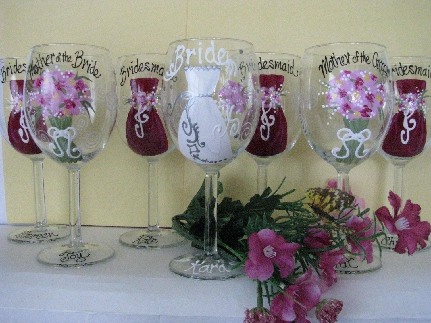 How to decorate wine glasses for bridesmaids - Glass Hand Painted Wine Glasses Ideas Three Bridesmaid