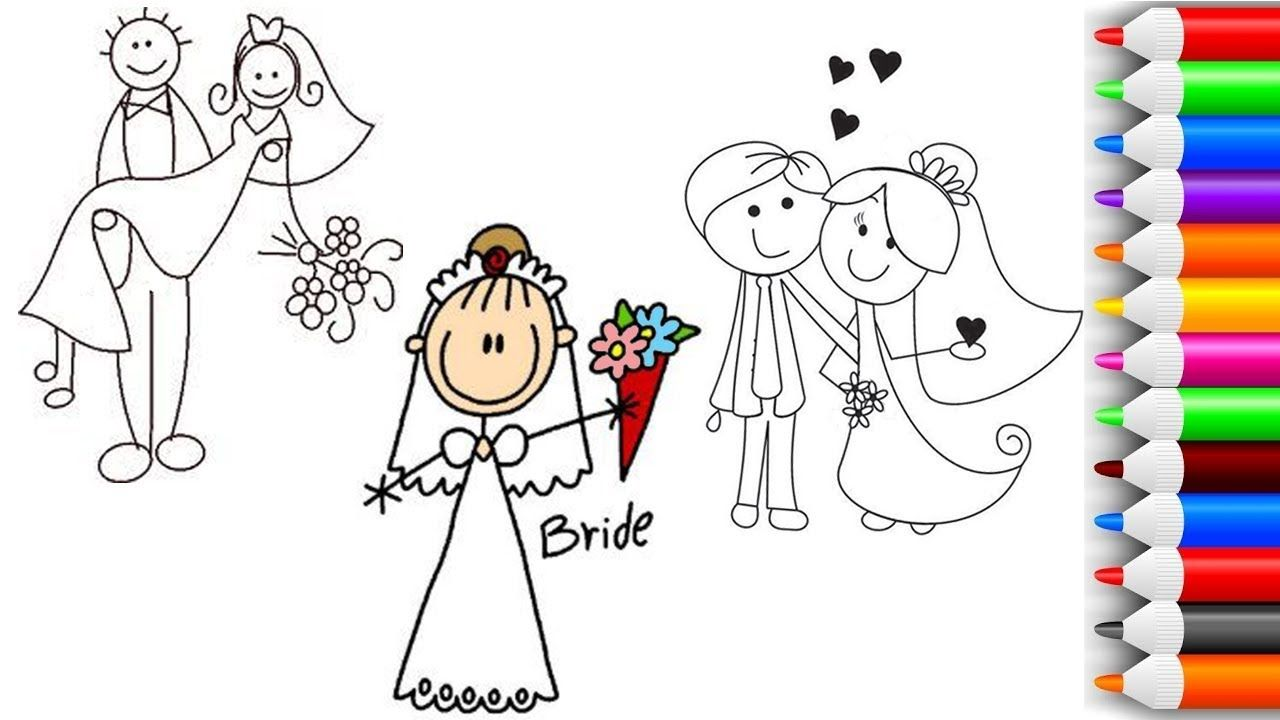 How To Draw Little Bride And Groom Coloring Pages For Kids