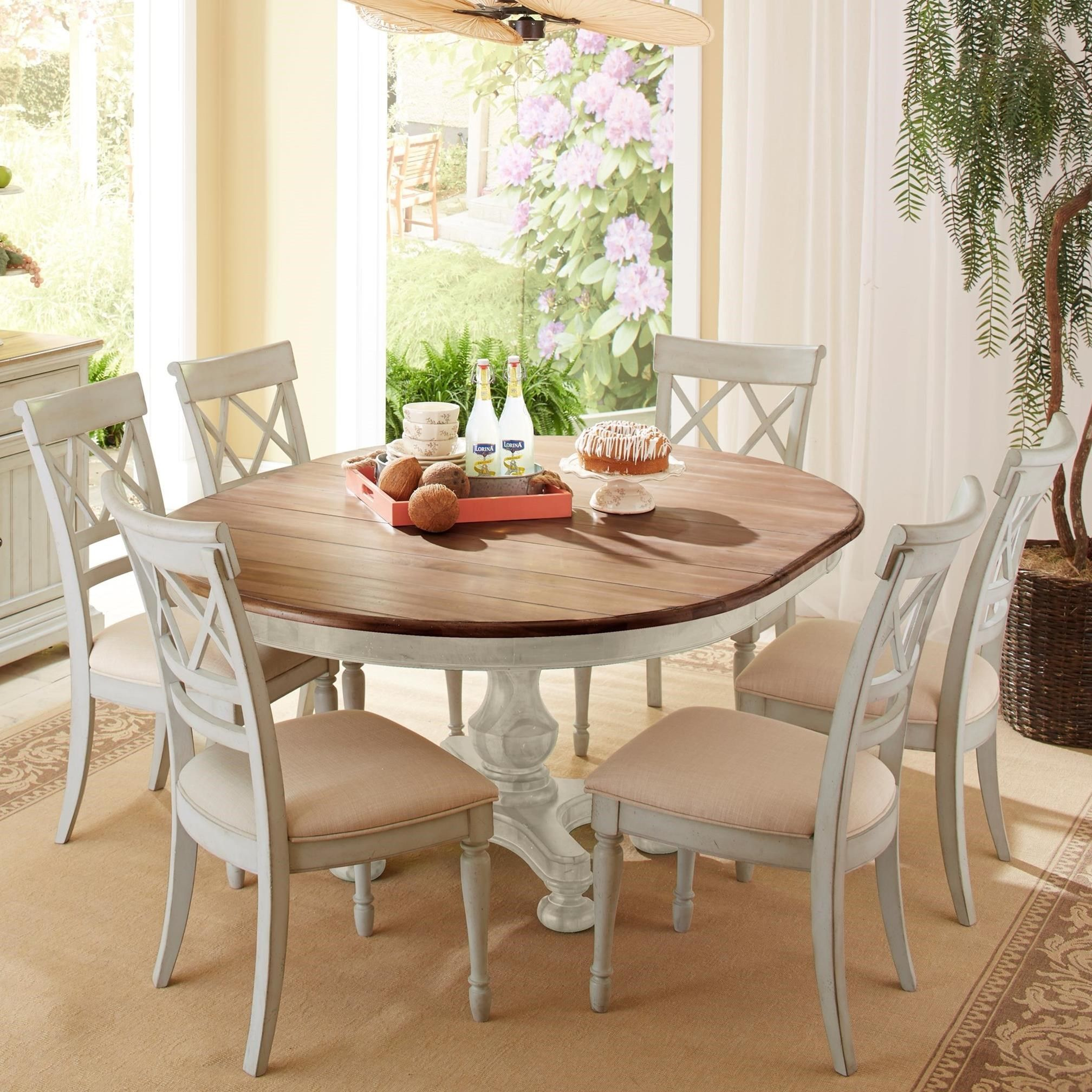 Cottage 7 Piece Round Table And Double X Back Chair Set By Cresent Fine Furniture Kitchen Table Settings Round Dining Table Dining Table