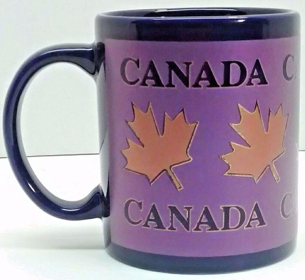 LARGE CERAMIC MUG CANADA COFFEE CUP CANADIAN GOLD LEAF