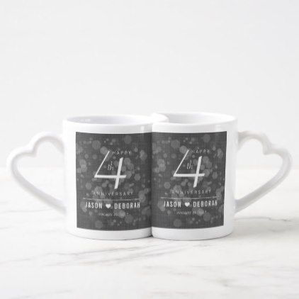 Elegant 4th Linen Wedding Anniversary Celebration Coffee Mug Set