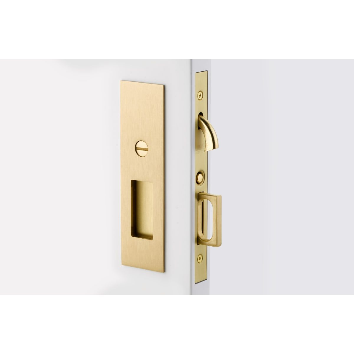 Emtek 2155 Build Com In 2020 Pocket Door Lock Emtek Satin Brass