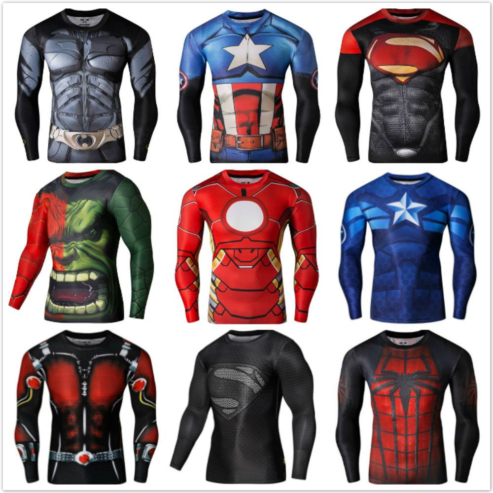 DC Compression Men/'s Marvel Superhero T-Shirt Long Sleeve Sport Cycling Top Tee