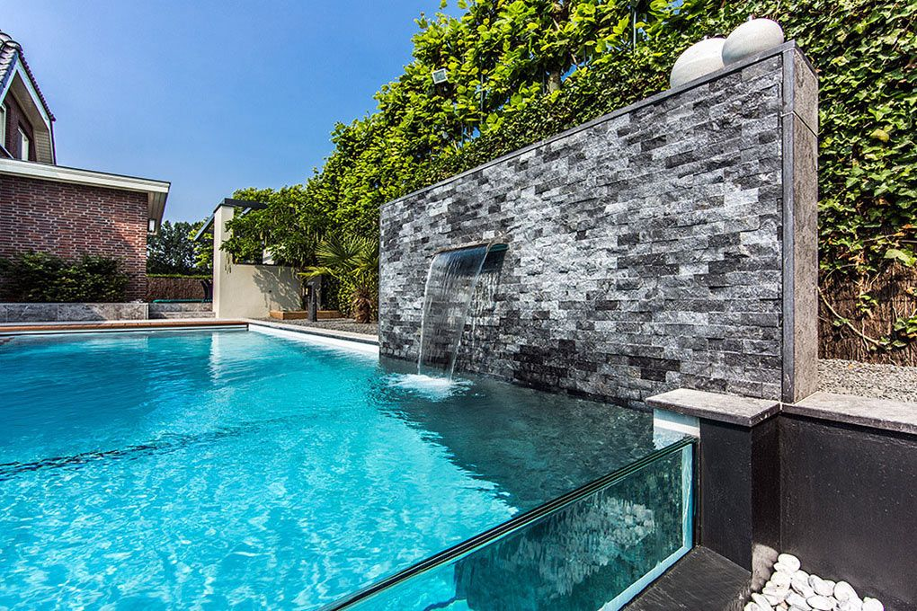 Patio Aquatic Backyard fuente cascada piscina Piscinas Pinterest