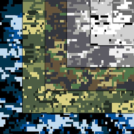 Digital Camouflage Digital Papers Military Pattern Seamless 12 Pcs 300dpi Paper Crafts Card Making Scrapbooking Digital Paper Create Invitations Camouflage