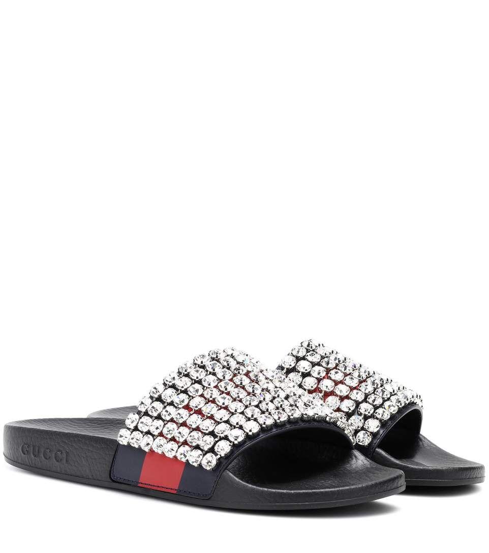 edd26e01f8f6 GUCCI Crystal-embellished slides.  gucci  shoes