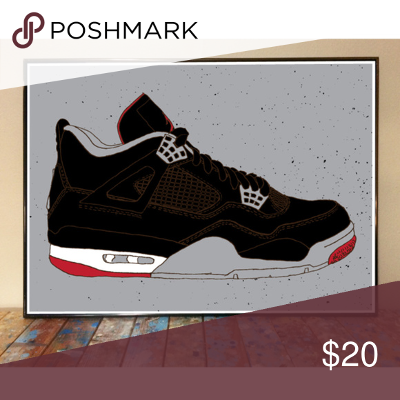 new product 82fb3 64d8b 11x17 AIR JORDAN 4 BLACK CEMENT DRAWING ART PRINT -DOES NOT INCLUDE FRAME  -Original