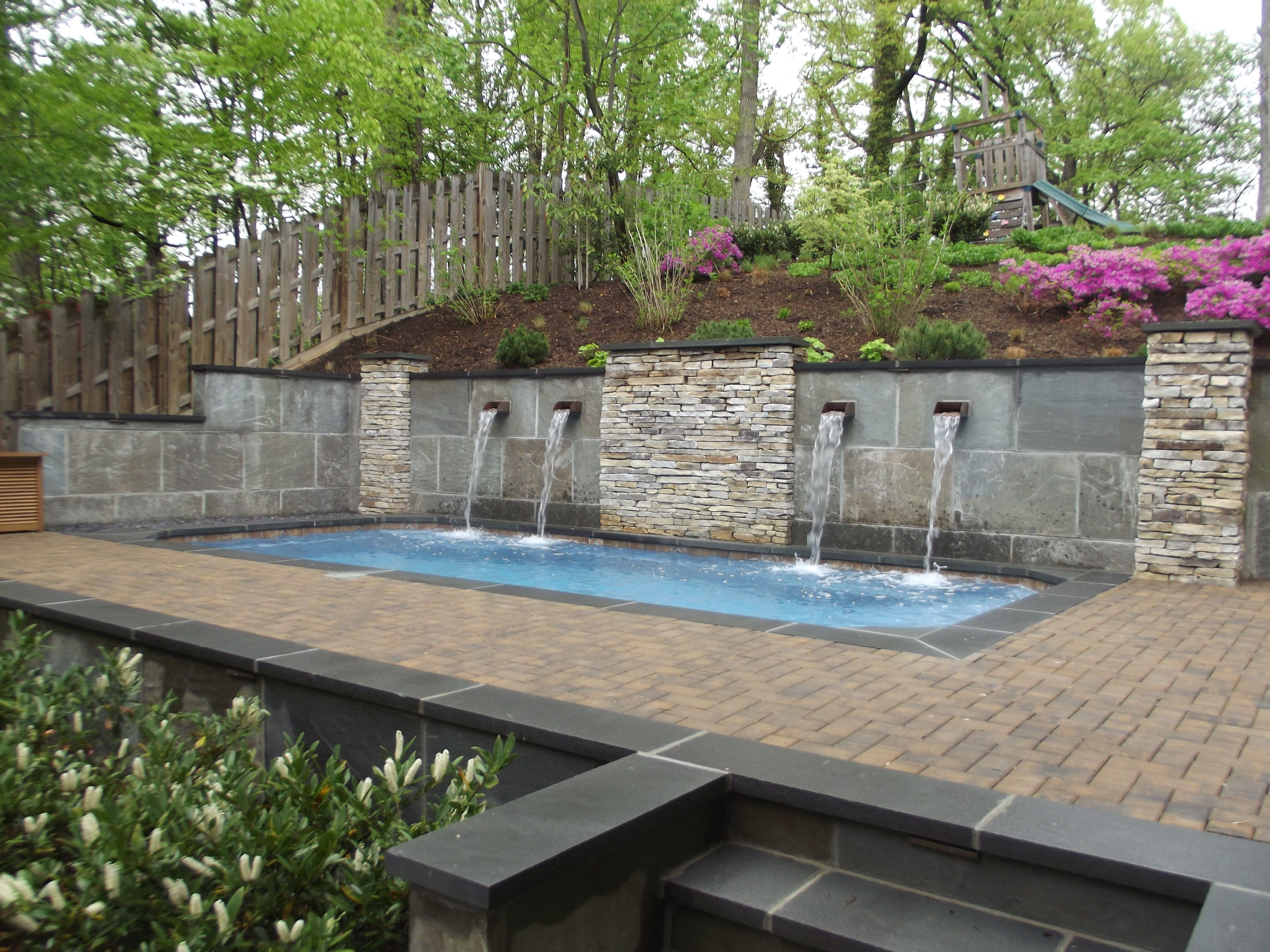 Pool In Sloped Yard Google Search Sloped Backyard Sloped Yard Small Backyard Pools