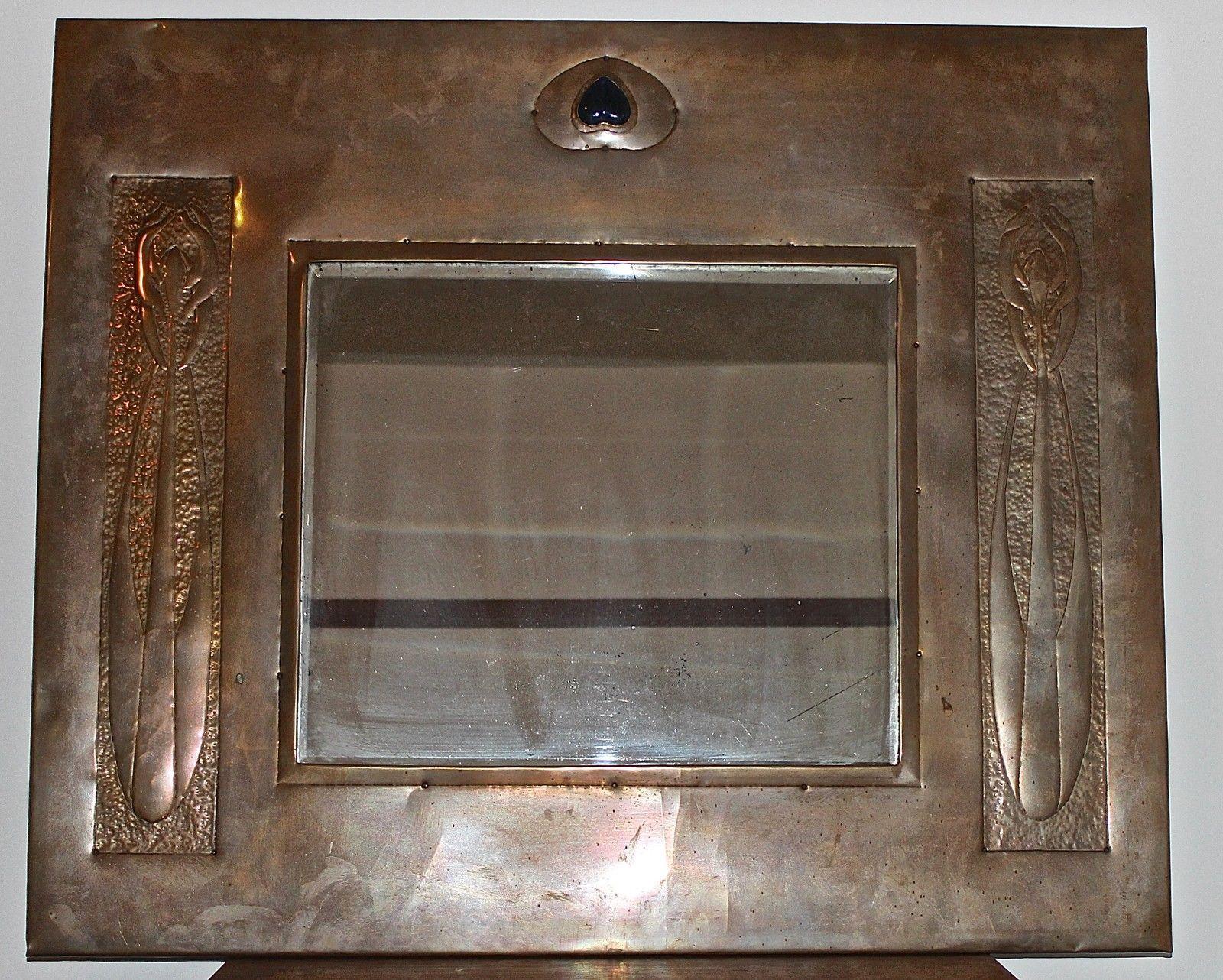 large antique arts u0026 crafts nouveau glasgow style copper mirror