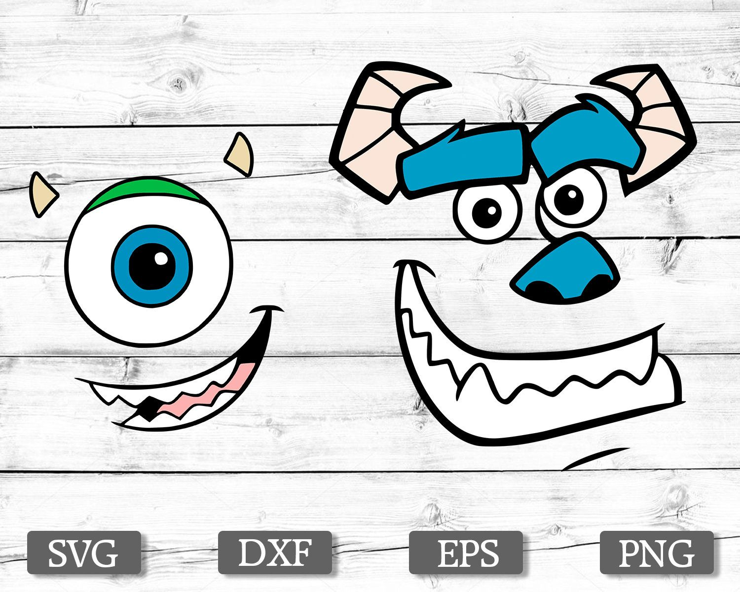Sully And Mike S Face Svg Monsters Inc Svg Sully Face Svg Mike Wazowski Face Svg Cricut Silhouette Monsters Inc Mike And Sully Scrapbooking Projects
