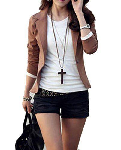 Zsn Womens Leisure One-Button Solid Slim Short Blazer Suit -8593