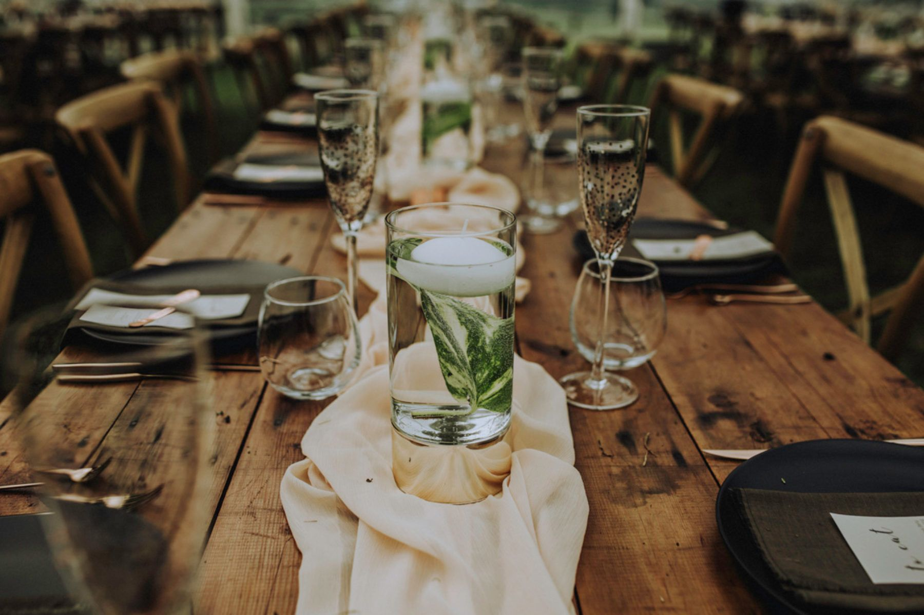 Copper cutlery and matte black dinner plates hired from the phillip lauras new zealand diy wedding was a wonderful celebration of over a decade of love and friendship from these high school sweethearts junglespirit Gallery