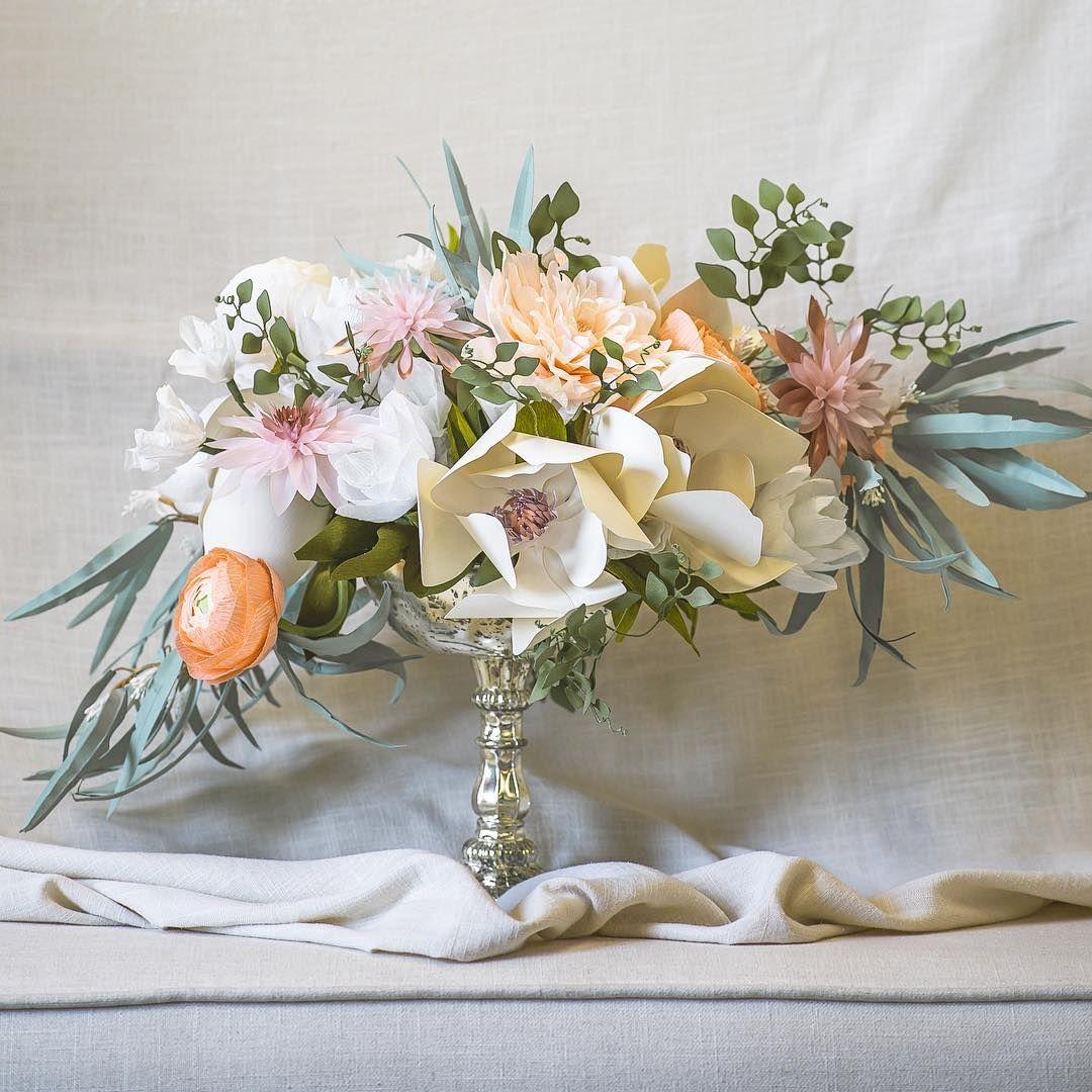 Paper Flower Centerpiece By Paper Portrayals Flower Constructions