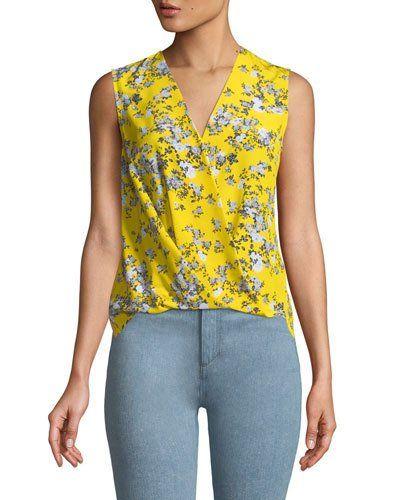 820849b80614e7 Rag & Bone Victor Sleeveless Wrap-Front Garden Floral-Print Silk Blouse
