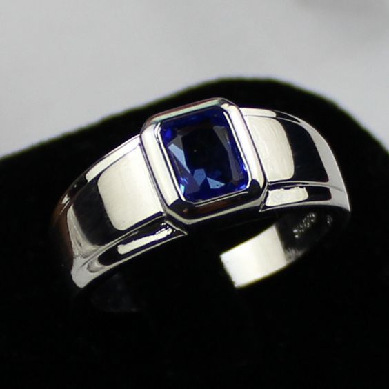 Details About 925 Silver Filled Jewelry Sapphire Gemstone Ring