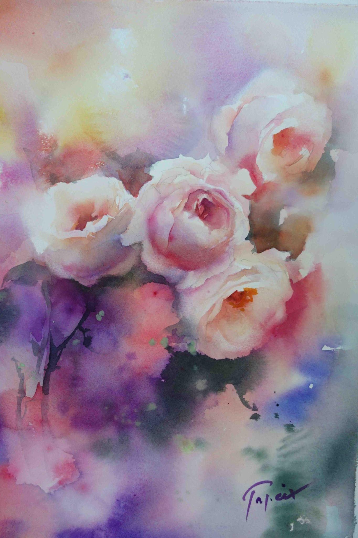 Jean Claude Papeix Peinture Fleurs Aquarelle Fleurs Aquarelle