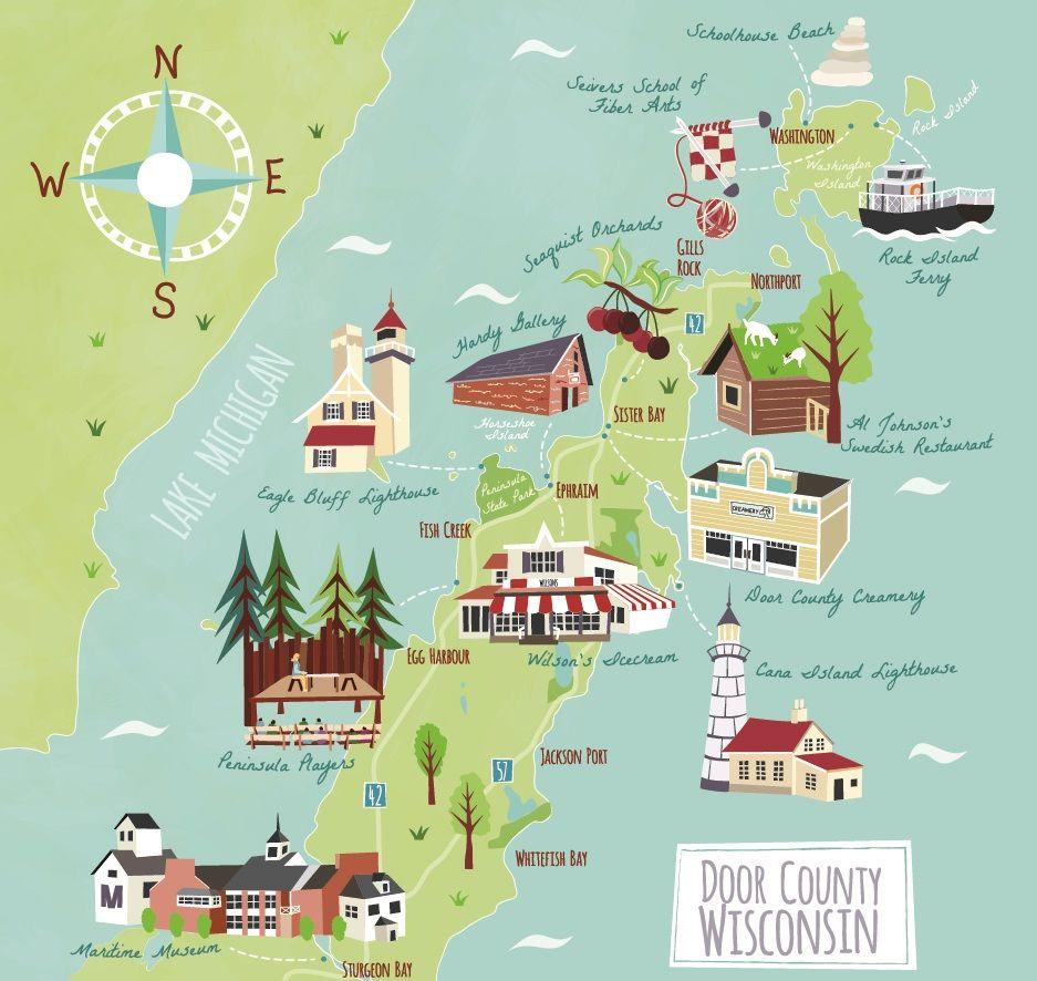 Illustrated Map Of Door County Wisconsin Usa Lake Michigan Ephraim Peninsula Players Washington Island Lands End Clothing Illyustrirovannye Karty Karta