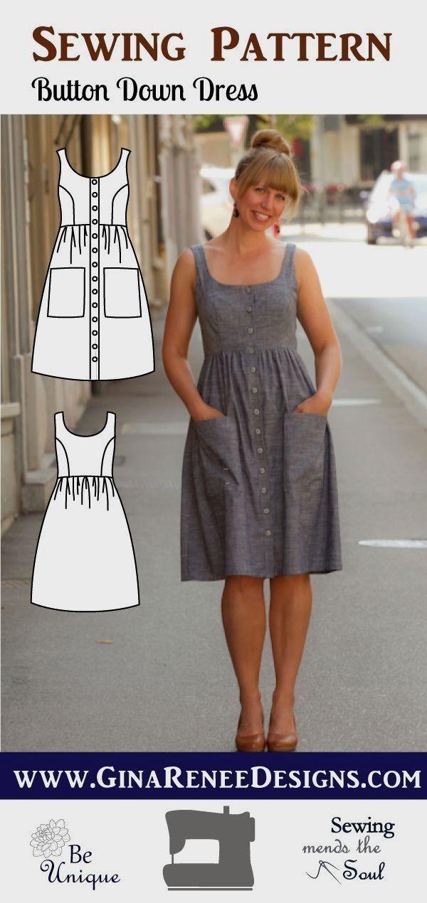 Button Down Dress - Midi Dress Pattern - Pollyanna Pocket Dress Pattern You'll feel stylish